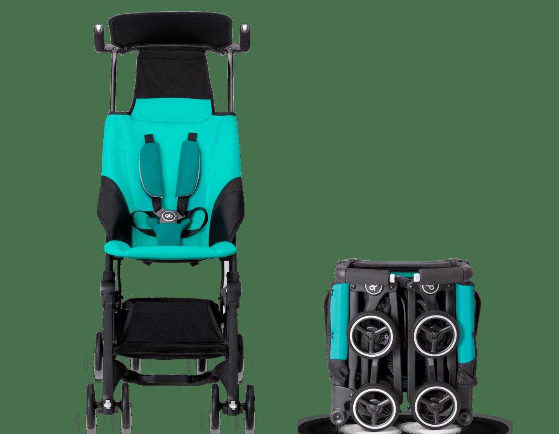 La silla ligera GB Pockit antes y después de plegarla